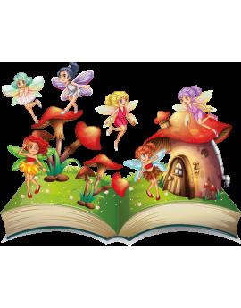 Stickers fée pays imaginaire sur livre ouvert