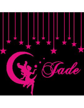 Stickers fée sur un nuage étoiles prénom Jade