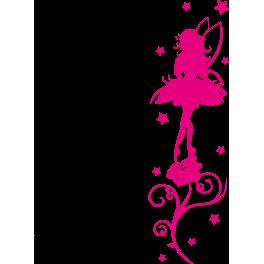 Stickers fée sur fleur étoiles