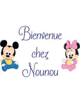 Stickers texte bienvenue chez nounou Mickey Minnie