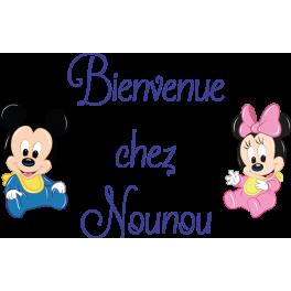 Stickers texte bienvenue chez nounou Mickey Minnie