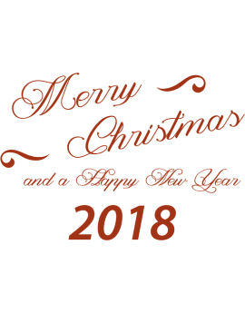 Stickers texte merry christmas and happy new year 2018