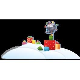 Stickers décor de noël sur neige