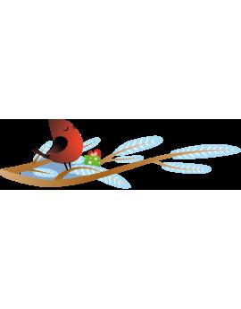 Stickers oiseau sur branche décor noël repositionnable