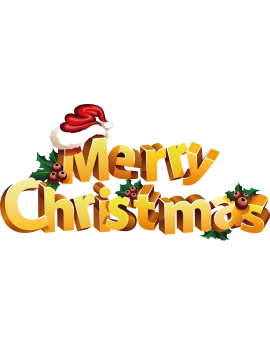 Stickers texte Merry Christmas 3D repositionnable