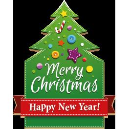 Stickers panneau forme sapin vert Merry Christmas