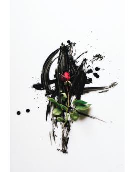 Poster rose avec traits de pinceaux