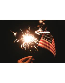 Poster étincelle et drapeau des États-Unis