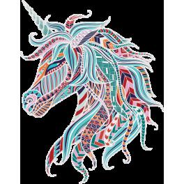 Stickers tête de licorne multicolore