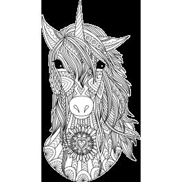Stickers tête de licorne noir et blanc