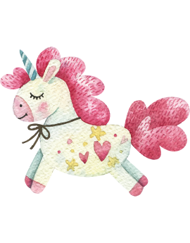 Stickers licorne aquarelle