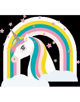 Stickers tête de licorne arc en ciel