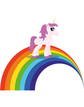 Stickers licorne arc en ciel