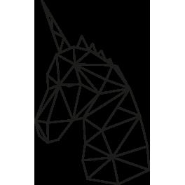 Stickers tête de licorne géométrique