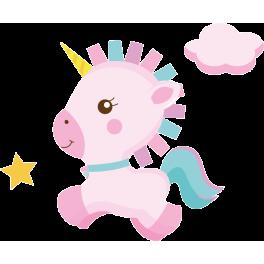 Stickers bébé licorne étoiles et nuage