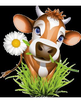 Stickers vache fleur ferme