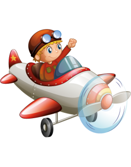 Sticker avion rouge garçon aviateur