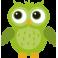 Stickers hibou vert