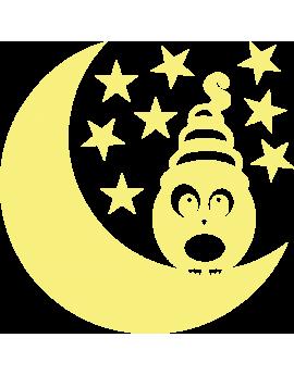 Stickers lune étoiles chouette phosphorescents
