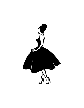 Stickers femme avec chignon et robe