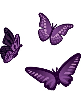 Kit 3 Stickers papillons violets