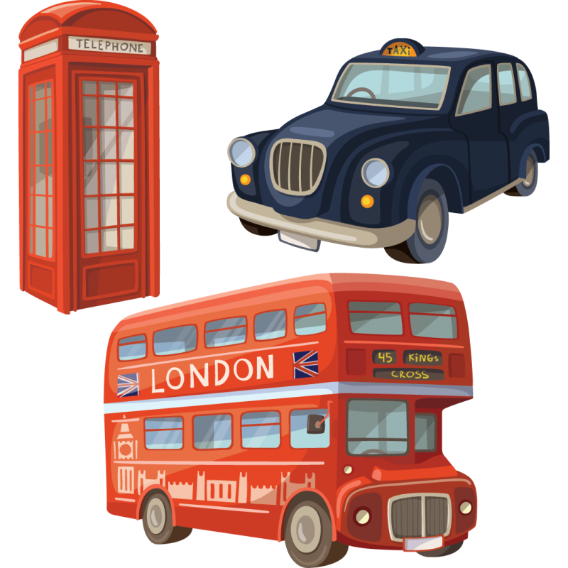 kit 3 stickers bus rouge londres color stickers. Black Bedroom Furniture Sets. Home Design Ideas