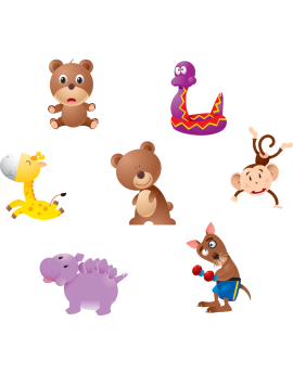 Kit 7 Stickers animaux