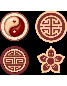 Kit 4 Stickers symboles chinois Ying Yang