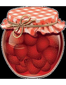 Sticker fraises pot de confiture