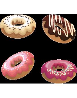 Kit 4 Stickers donuts beignets sucrés