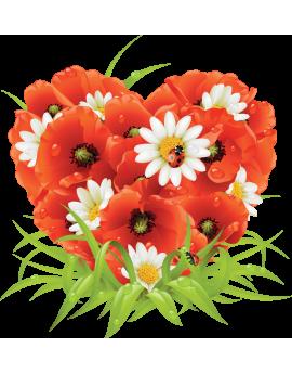 Sticker bouquet de fleurs coquelicot
